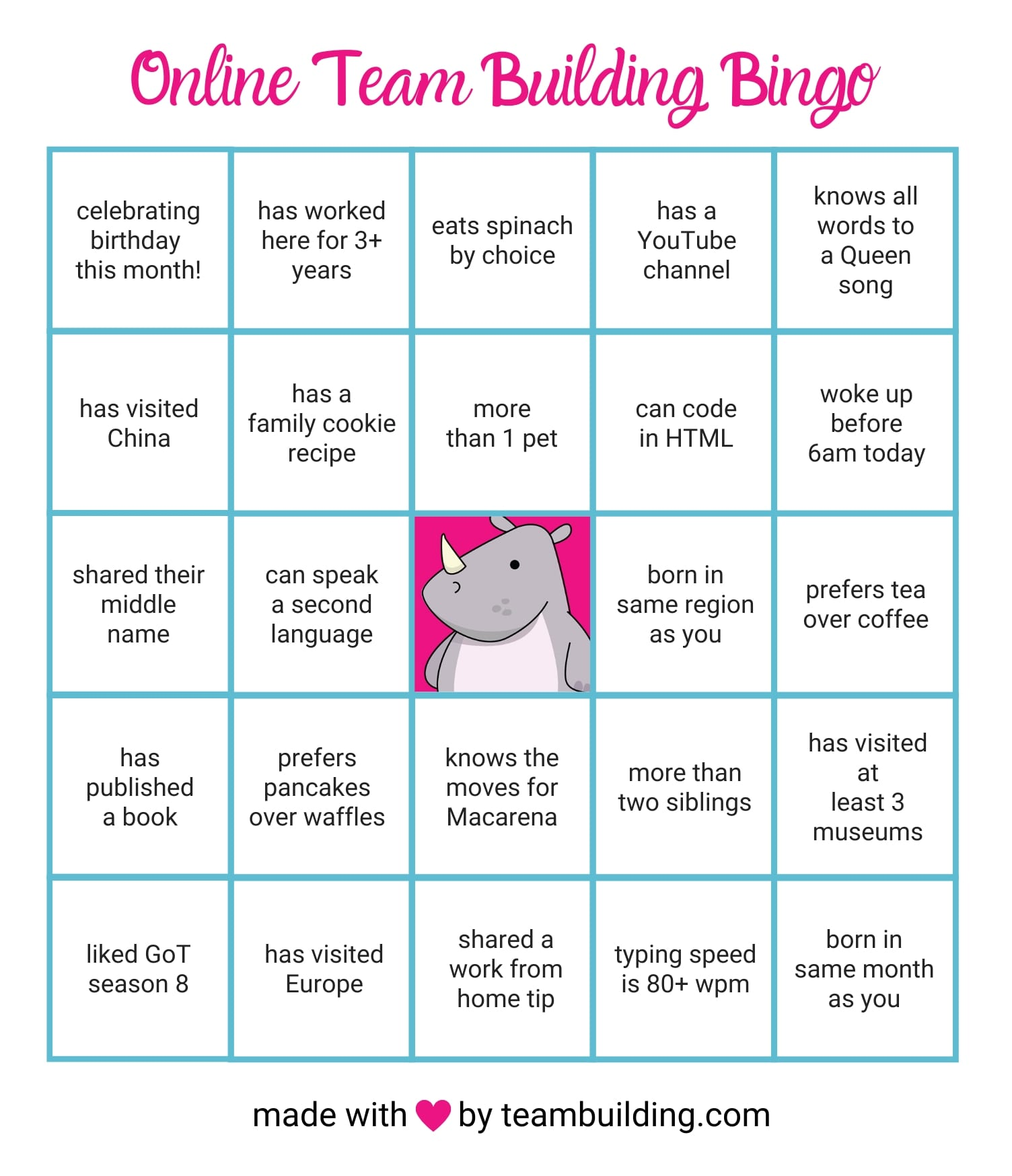 Online Team Building Bingo